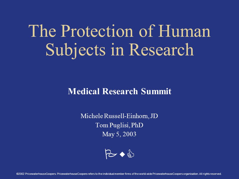 PwC The Protection of Human Subjects in Research Medical Research Summit Michele Russell-Einhorn, JD Tom Puglisi, PhD May 5, 2003 ©2002 PricewaterhouseCoopers.
