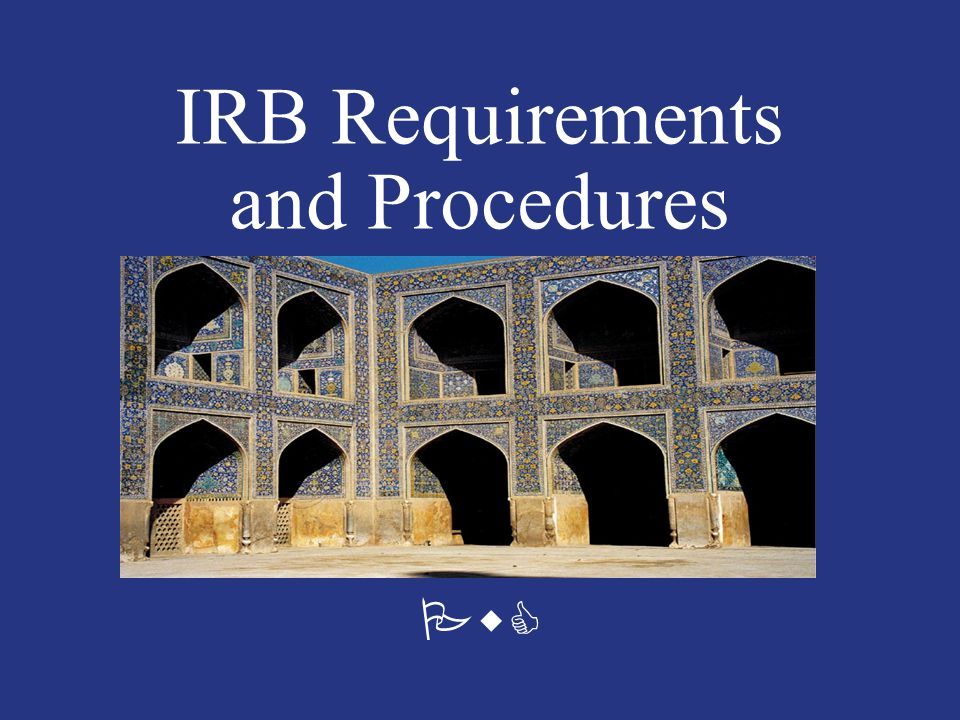 PwC IRB Requirements and Procedures