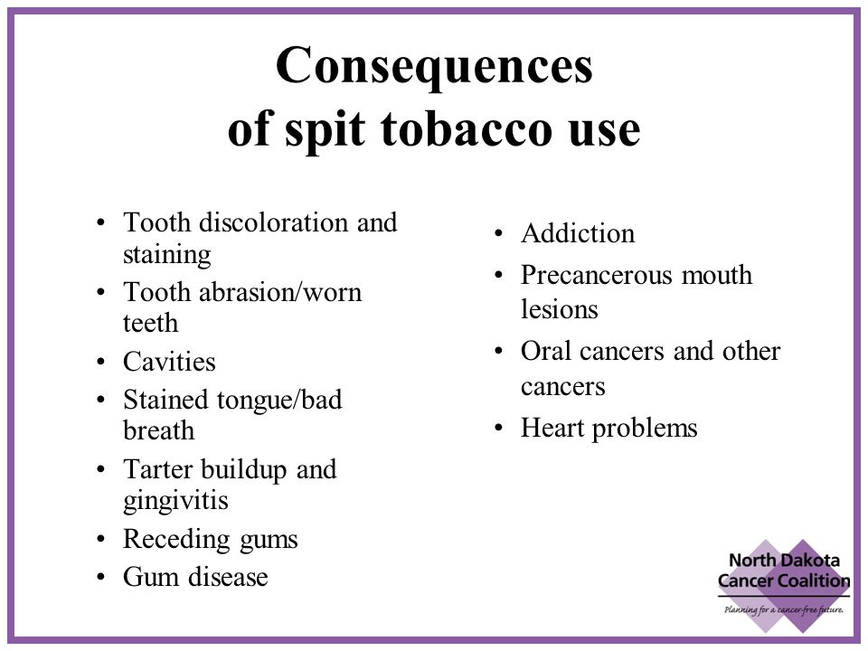 Consequences of spit tobacco use Tooth discoloration and staining Tooth abrasion/worn teeth Cavities Stained tongue/bad breath Tarter buildup and gingivitis Receding gums Gum disease Addiction Precancerous mouth lesions Oral cancers and other cancers Heart problems
