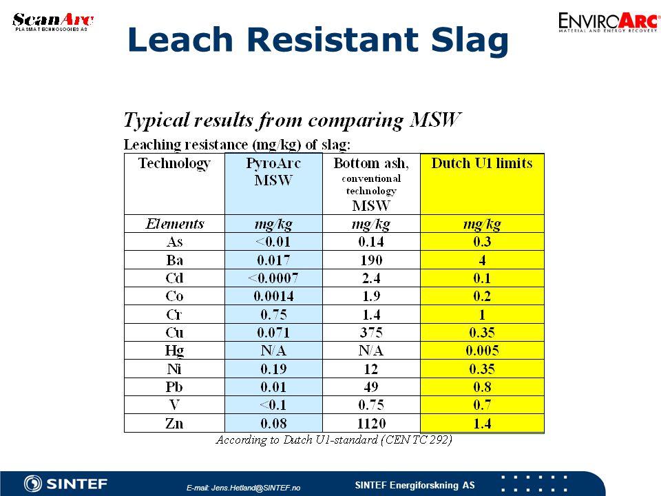 SINTEF Energiforskning AS Leach Resistant Slag E-mail: Jens.Hetland@SINTEF.no