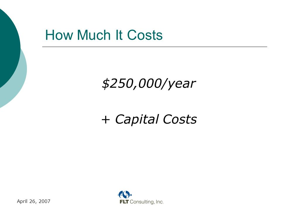 April 26, 2007 How Much It Costs $250,000/year + Capital Costs