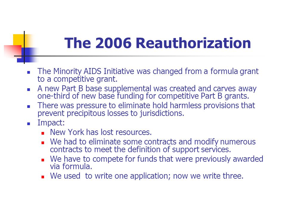 The 2006 Reauthorization The Minority AIDS Initiative was changed from a formula grant to a competitive grant.