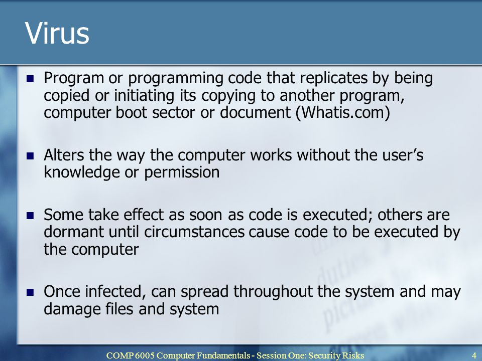COMP 6005 Computer Fundamentals - Session One: Security Risks5 Worm Self-replicating virus that may alter files and resides in memory or on a network duplicating itself Uses up resources and can shut down computer or network Typically resends itself as an e-mail attachment or as part of a network message