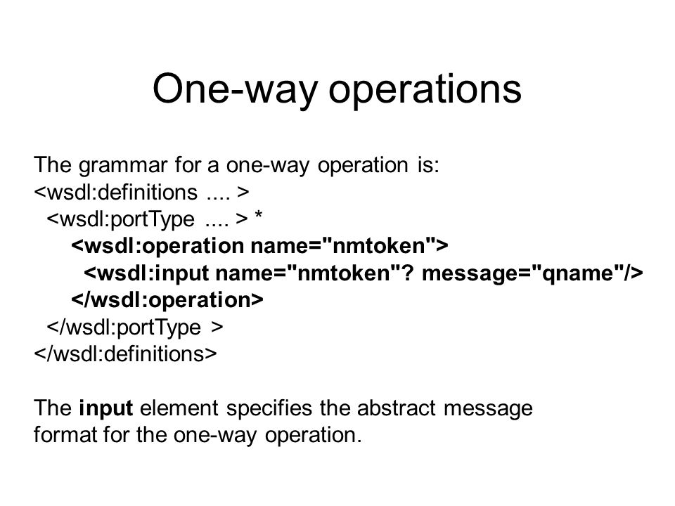 One-way operations The grammar for a one-way operation is: * The input element specifies the abstract message format for the one-way operation.