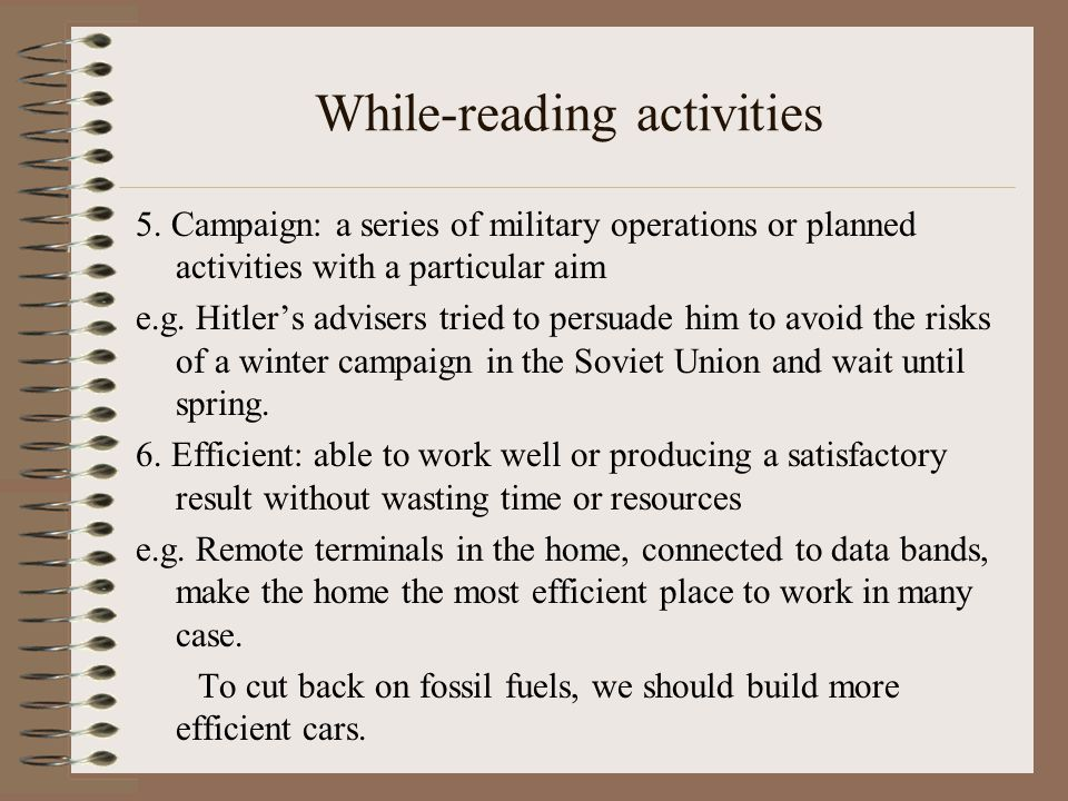 While-reading activities 5.