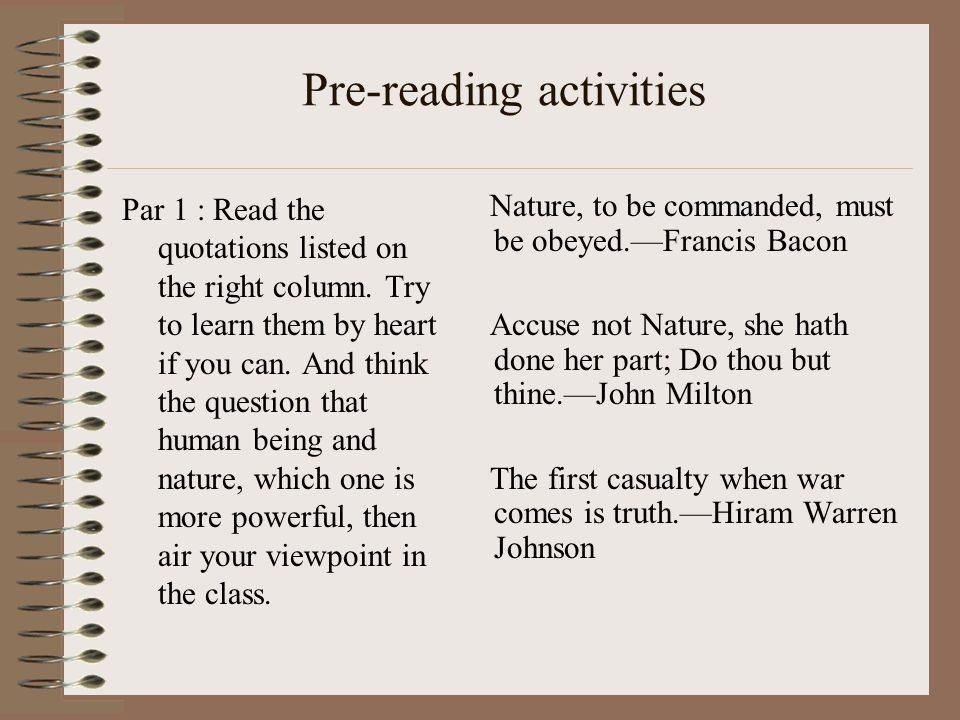 Pre-reading activities Par 1 : Read the quotations listed on the right column.