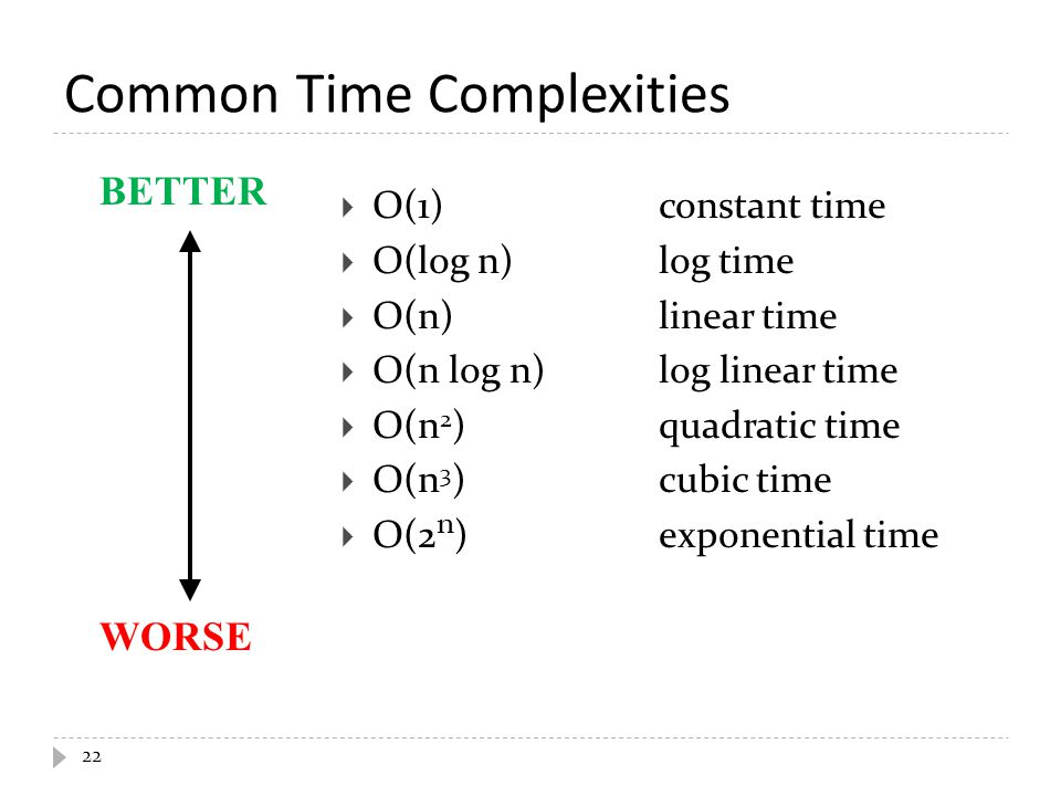 Common Time Complexities  O(1)constant time  O(log n)log time  O(n)linear time  O(n log n)log linear time  O(n 2 )quadratic time  O(n 3 )cubic t