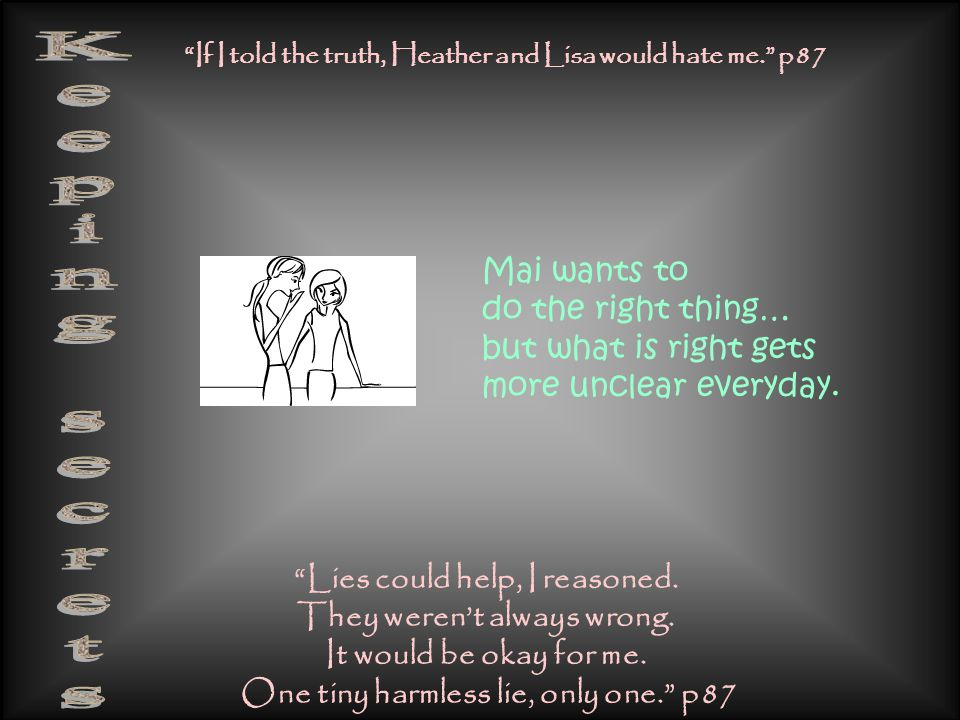 """""""Lies could help, I reasoned. They weren't always wrong. It would be okay for me. One tiny harmless lie, only one."""" p87 """"If I told the truth, Heather"""
