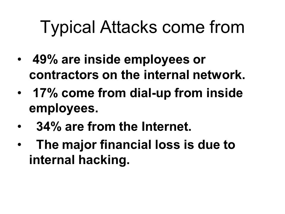 Typical Attacks come from 49% are inside employees or contractors on the internal network.