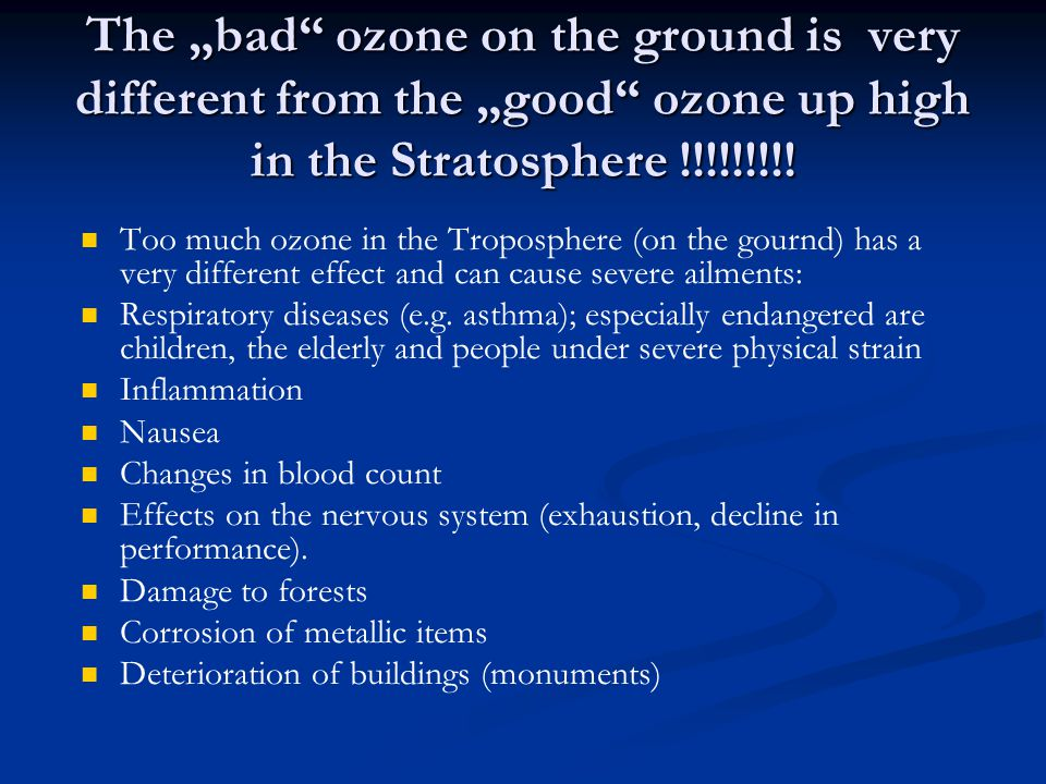 "The ""bad ozone on the ground is very different from the ""good ozone up high in the Stratosphere !!!!!!!!."