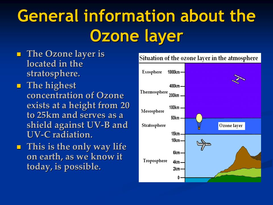 General information about the Ozone layer The Ozone layer is located in the stratosphere.