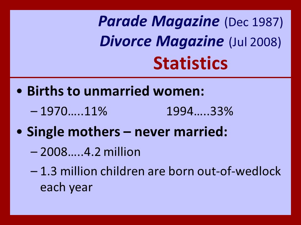Parade Magazine (Dec 1987) Divorce Magazine (Jul 2008) Statistics Number of unmarried couples living together: –2008…..5.5 million Unmarried couples living together that are male-female unions: –2008…..89%