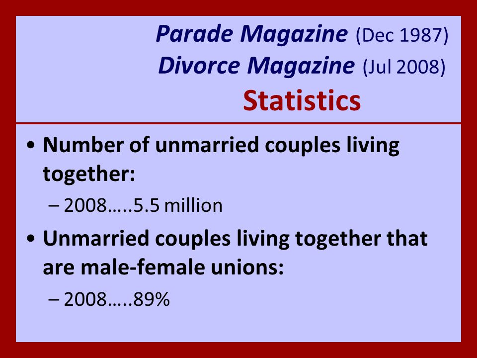 Parade Magazine (Dec 1987) Divorce Magazine (Jul 2008) Statistics Professional jobs held by women: –1957…..35% 1986…..Most held by women that they admonish the young women to love their husbands, to love their children, to be discreet, chaste, homemakers, good, obedient to their own husbands, that the word of God may not be blasphemed.