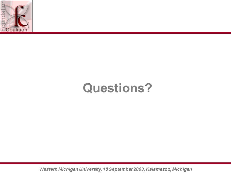 Western Michigan University, 18 September 2003, Kalamazoo, Michigan Questions