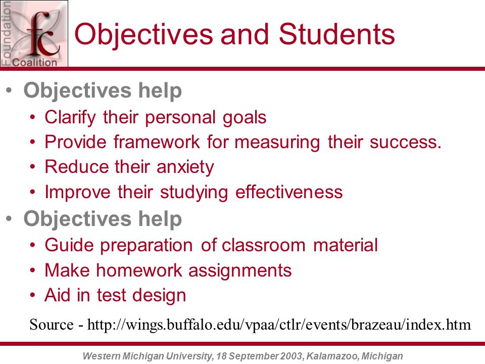 Western Michigan University, 18 September 2003, Kalamazoo, Michigan Objectives and Students Objectives help students Clarify their personal goals Provide framework for measuring their success.