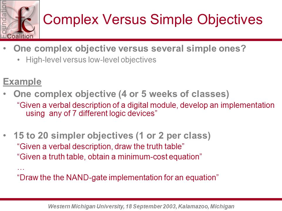 Western Michigan University, 18 September 2003, Kalamazoo, Michigan Complex Versus Simple Objectives One complex objective versus several simple ones.