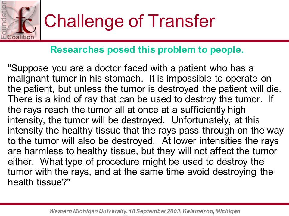 Western Michigan University, 18 September 2003, Kalamazoo, Michigan Challenge of Transfer Researches posed this problem to people.