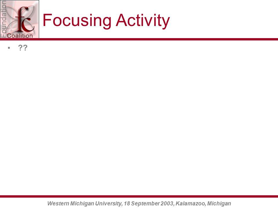 Western Michigan University, 18 September 2003, Kalamazoo, Michigan Focusing Activity