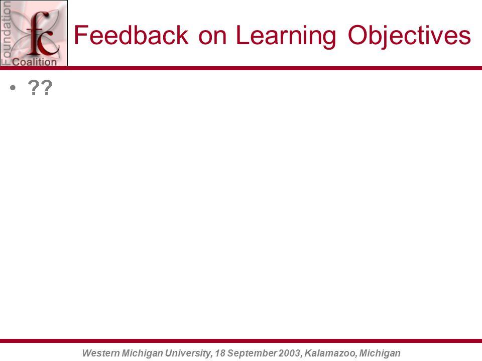 Western Michigan University, 18 September 2003, Kalamazoo, Michigan Feedback on Learning Objectives