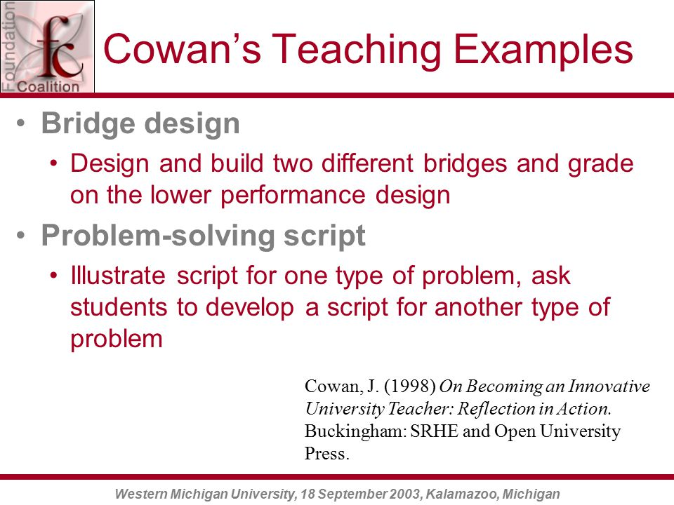 Western Michigan University, 18 September 2003, Kalamazoo, Michigan Cowan's Teaching Examples Bridge design Design and build two different bridges and grade on the lower performance design Problem-solving script Illustrate script for one type of problem, ask students to develop a script for another type of problem Cowan, J.