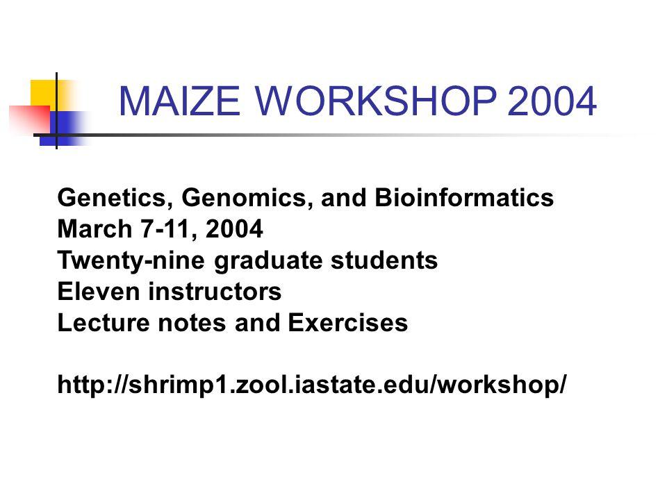 Genetics, Genomics, and Bioinformatics March 7-11, 2004 Twenty-nine graduate students Eleven instructors Lecture notes and Exercises http://shrimp1.zool.iastate.edu/workshop/ MAIZE WORKSHOP 2004