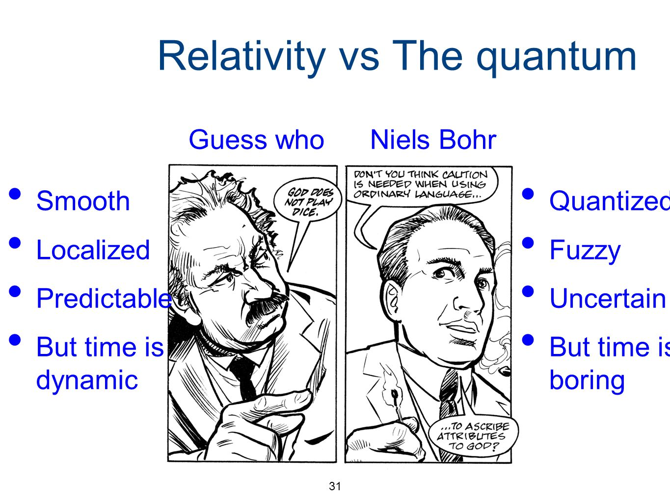 31 Relativity vs The quantum Niels BohrGuess who Smooth Localized Predictable But time is dynamic Quantized Fuzzy Uncertain But time is boring