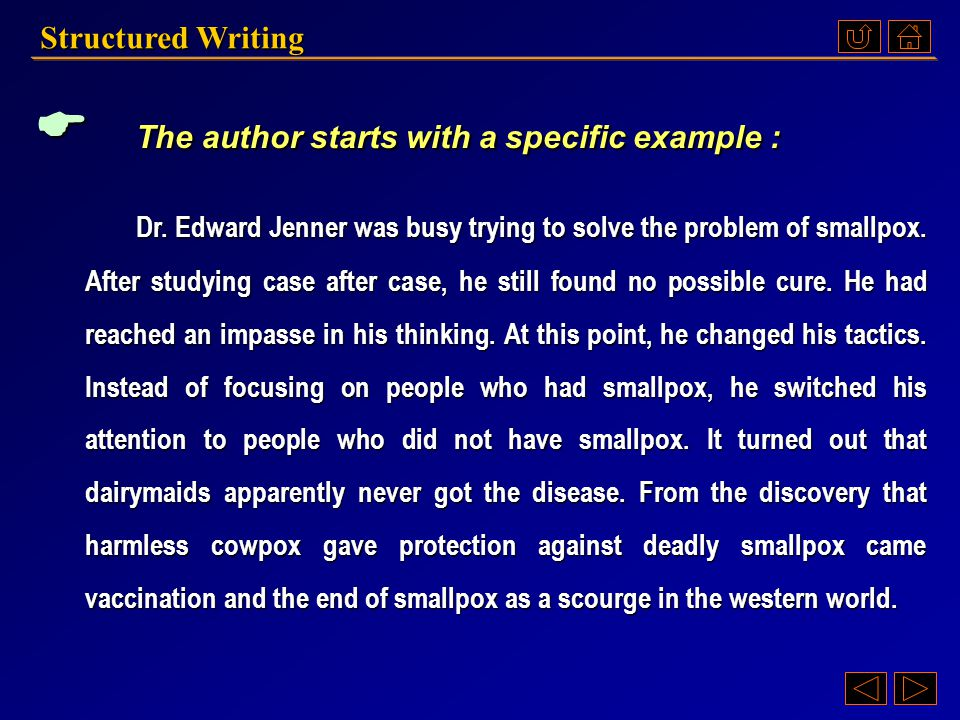 Structured Writing  The author starts with a specific example of changing one's point of view to solve the problem. The author starts with a specific