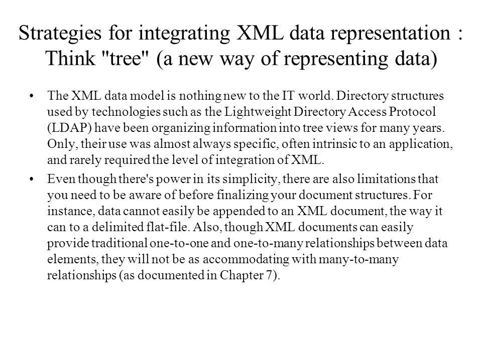 Strategies for integrating XML data representation : Think