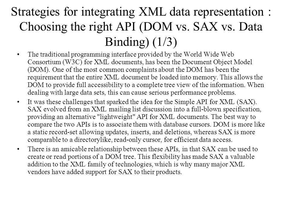 Strategies for integrating XML data representation : Choosing the right API (DOM vs. SAX vs. Data Binding) (1/3) The traditional programming interface