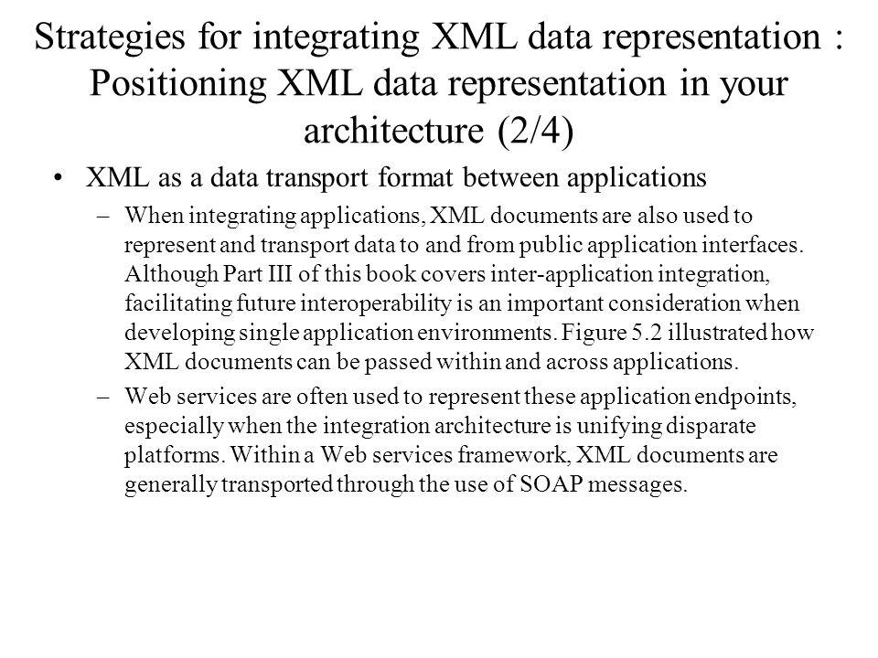 Strategies for integrating XML data representation : Positioning XML data representation in your architecture (2/4) XML as a data transport format bet