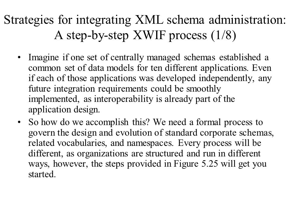 Strategies for integrating XML schema administration: A step-by-step XWIF process (1/8) Imagine if one set of centrally managed schemas established a
