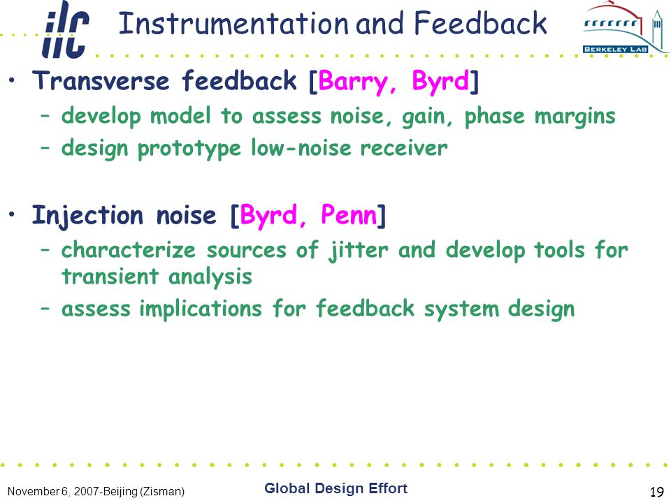 November 6, 2007-Beijing (Zisman) Global Design Effort 19 Instrumentation and Feedback Transverse feedback [Barry, Byrd] –develop model to assess noise, gain, phase margins –design prototype low-noise receiver Injection noise [Byrd, Penn] –characterize sources of jitter and develop tools for transient analysis –assess implications for feedback system design