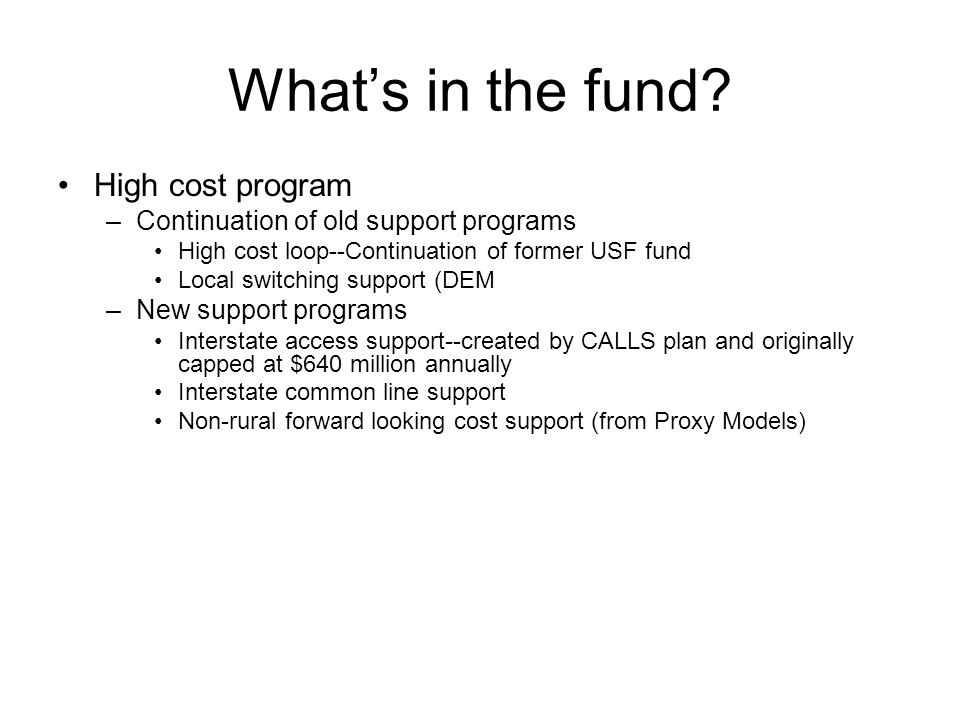 What's in the fund.