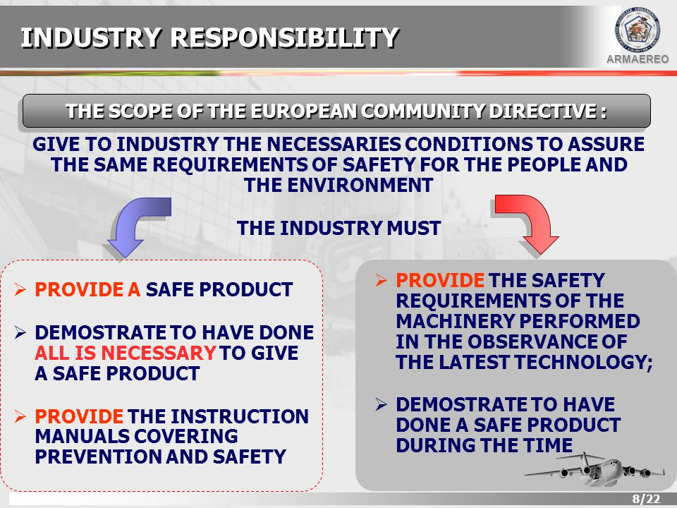 ARMAEREO 8/22 GIVE TO INDUSTRY THE NECESSARIES CONDITIONS TO ASSURE THE SAME REQUIREMENTS OF SAFETY FOR THE PEOPLE AND THE ENVIRONMENT THE INDUSTRY MUST THE SCOPE OF THE EUROPEAN COMMUNITY DIRECTIVE :  PROVIDE A SAFE PRODUCT  DEMOSTRATE TO HAVE DONE ALL IS NECESSARY TO GIVE A SAFE PRODUCT  PROVIDE THE INSTRUCTION MANUALS COVERING PREVENTION AND SAFETY INDUSTRY RESPONSIBILITY  PROVIDE THE SAFETY REQUIREMENTS OF THE MACHINERY PERFORMED IN THE OBSERVANCE OF THE LATEST TECHNOLOGY;  DEMOSTRATE TO HAVE DONE A SAFE PRODUCT DURING THE TIME