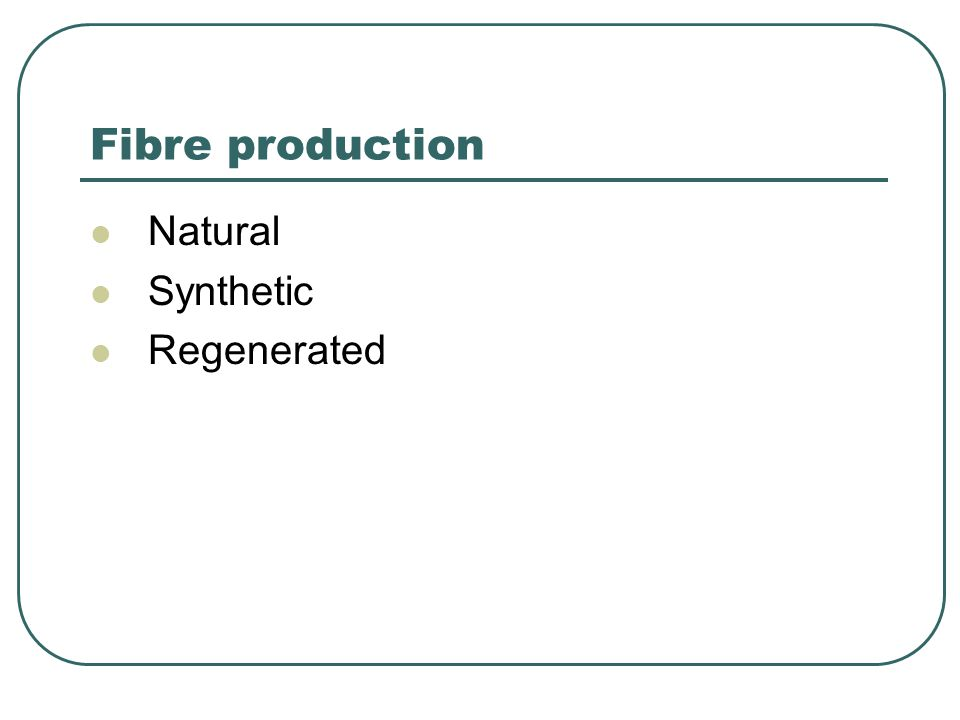 Fibre production Natural Synthetic Regenerated