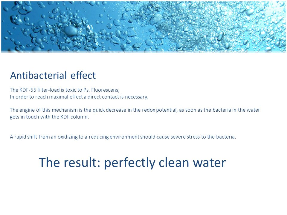 Antibacterial effect The KDF-55 filter-load is toxic to Ps.