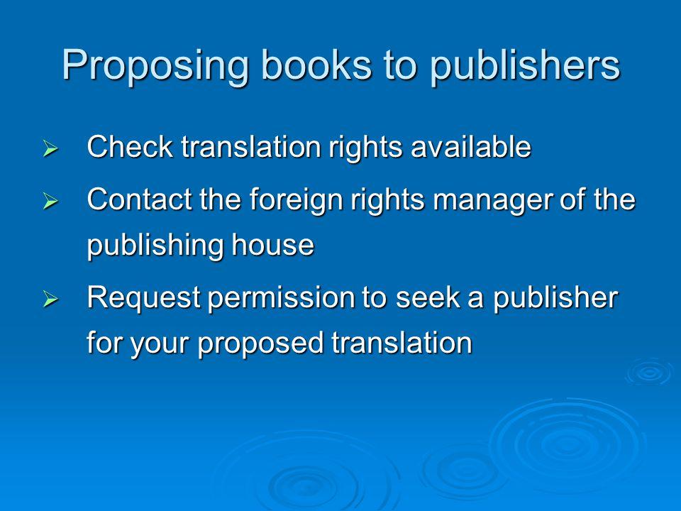 Identify potential publishers via:  publishing directories  book fair catalogues  visit international book fairs