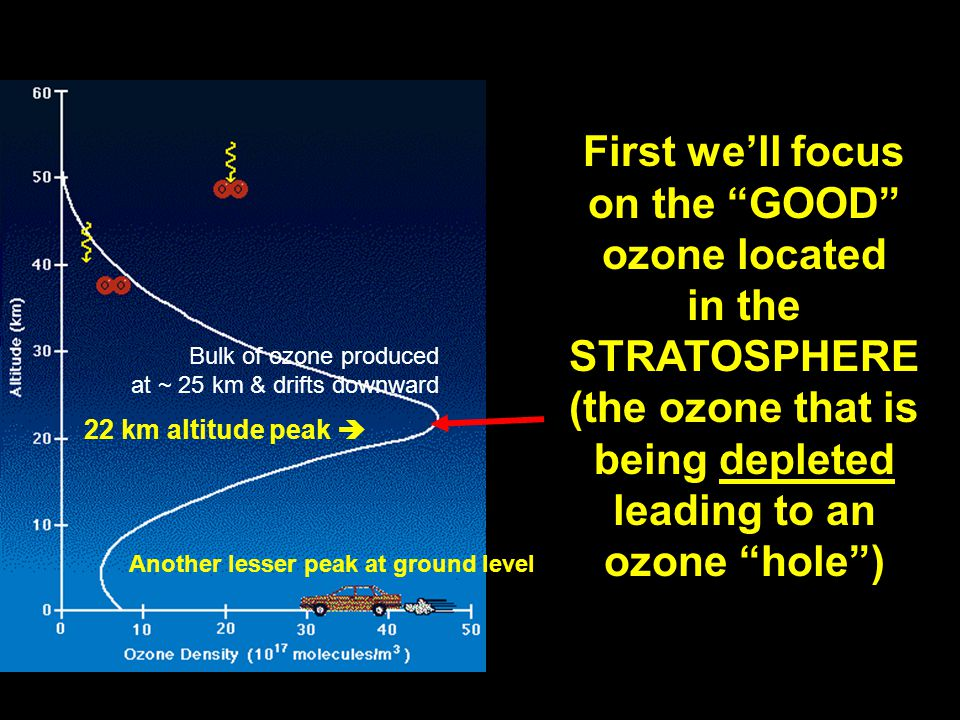 Here's a different version of the figure  Shows 2 peaks, a major peak in O 3 density in the stratosphere, a smaller secondary peak in the lower troposphere Ozone Density (10 17 molecules / m 3)