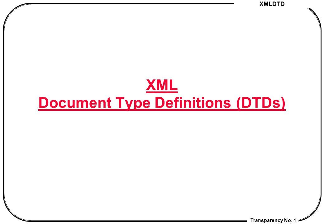 XML DTD Transparency No.82 4.5 Example <!ENTITY book La Peste: Albert Camus, © 1947 %pub;.