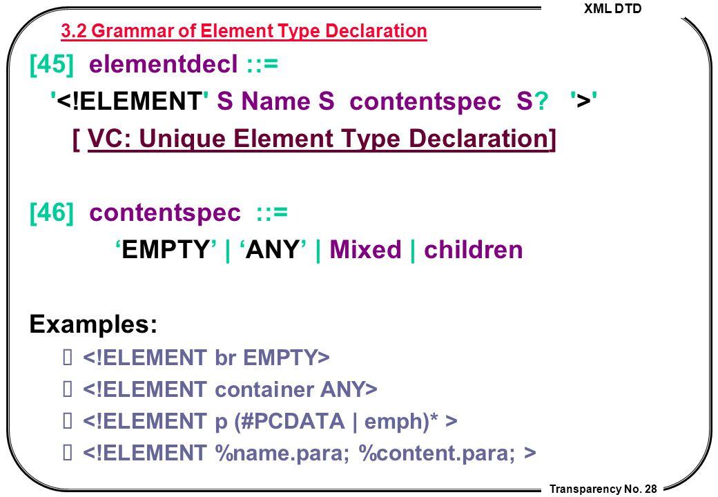 XML DTD Transparency No. 28 3.2 Grammar of Element Type Declaration [45] elementdecl ::= ' ' [ VC: Unique Element Type Declaration]VC: Unique Element