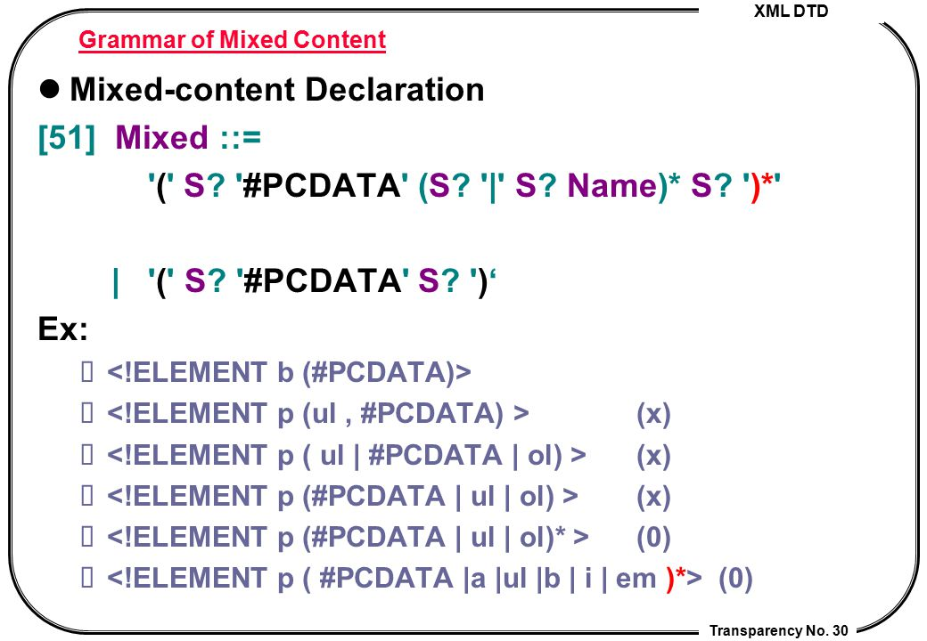 XML DTD Transparency No. 30 Grammar of Mixed Content Mixed-content Declaration [51] Mixed ::= '(' S? '#PCDATA' (S? '|' S? Name)* S? ')*' | '(' S? '#PC