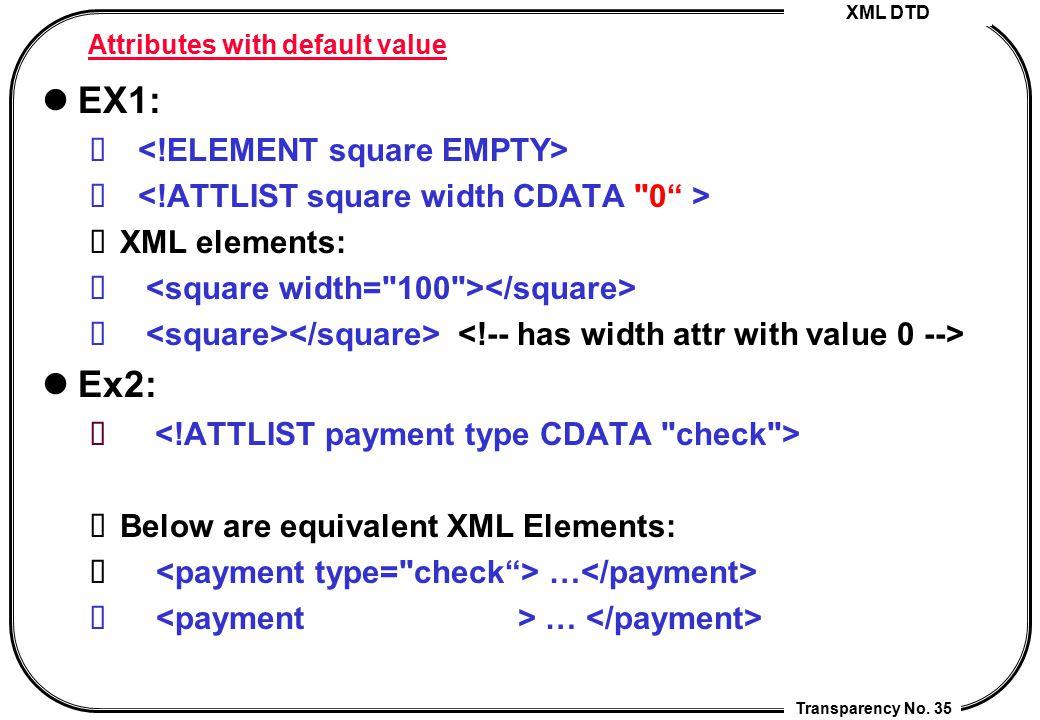 XML DTD Transparency No. 35 Attributes with default value EX1: XML elements: Ex2: Below are equivalent XML Elements: …