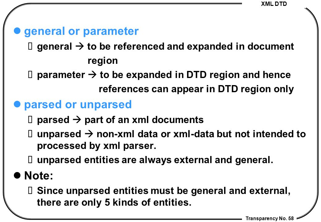 XML DTD Transparency No. 58 general or parameter general  to be referenced and expanded in document region parameter  to be expanded in DTD region a