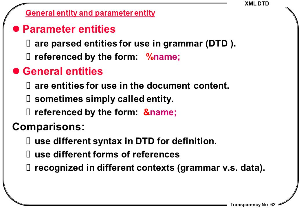 XML DTD Transparency No. 62 General entity and parameter entity Parameter entities are parsed entities for use in grammar (DTD ). referenced by the fo