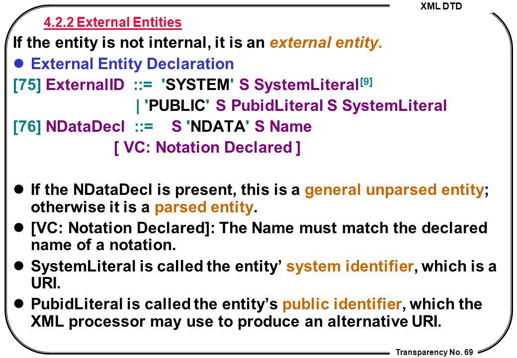 XML DTD Transparency No. 69 4.2.2 External Entities If the entity is not internal, it is an external entity. External Entity Declaration [75] External