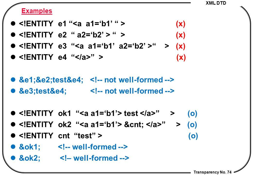 """XML DTD Transparency No. 74 Examples (x) """" > (x) """" > (x) &e1;&e2;test&e4; &e3;test&e4; test """" > (o) &cnt; """" > (o) (o) &ok1; &ok2;"""