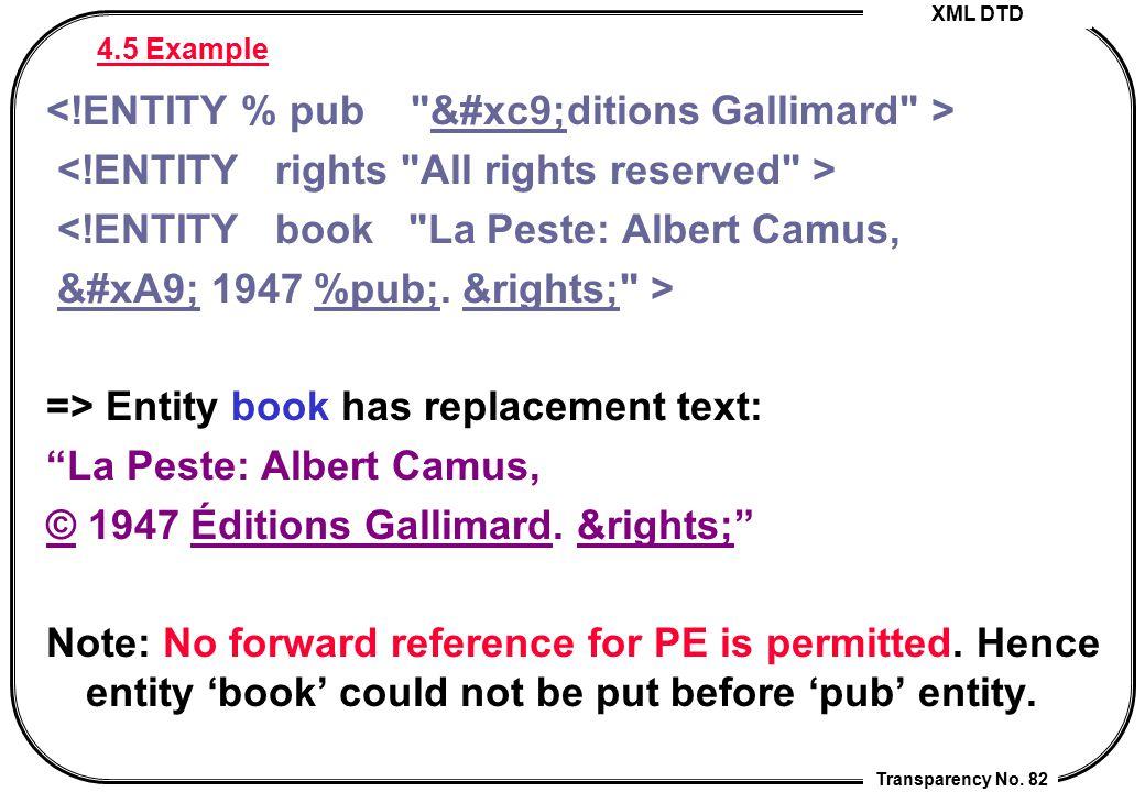 XML DTD Transparency No. 82 4.5 Example <!ENTITY book