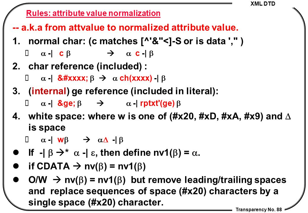 XML DTD Transparency No. 88 Rules: attribute value normalization -- a.k.a from attvalue to normalized attribute value. 1.normal char: (c matches [^'&