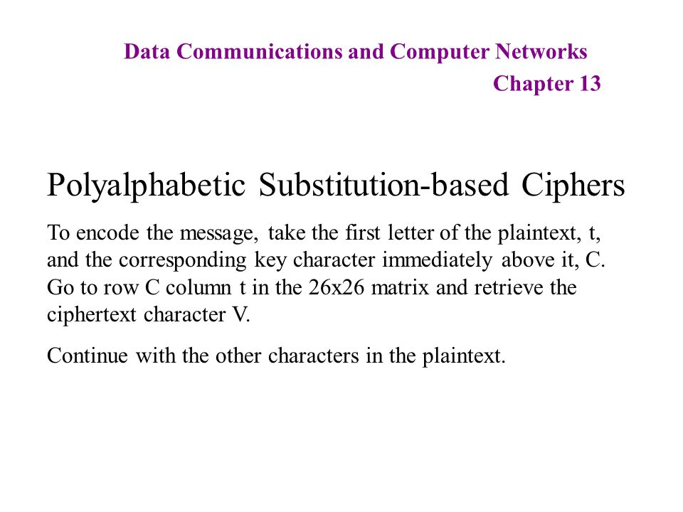 Data Communications and Computer Networks Chapter 13 Polyalphabetic Substitution-based Ciphers To encode the message, take the first letter of the pla
