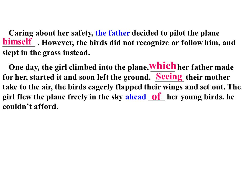 Caring about her safety, the father decided to pilot the plane ________. However, the birds did not recognize or follow him, and slept in the grass in